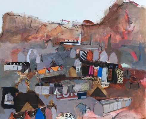 Ann Cowan Looking From Blackford Hill Across The City Mixed Media On Paper 19 X 18 Cm £325