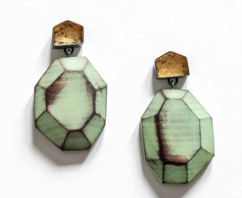 Cristina Zani My Seoul Oxidised Gold And Green Earringsweb