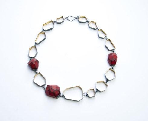 Cristina Zani My Seoul Oxidised Gold And Red Necklaceweb