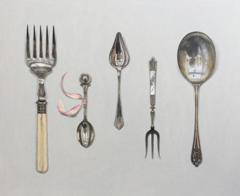 Cutlery Arrange With Silk Ribbon