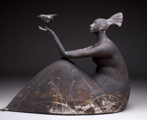 Seated Woman And Bird Stoneware 36Cm H