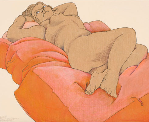 Woman On A Peach Coverlet W