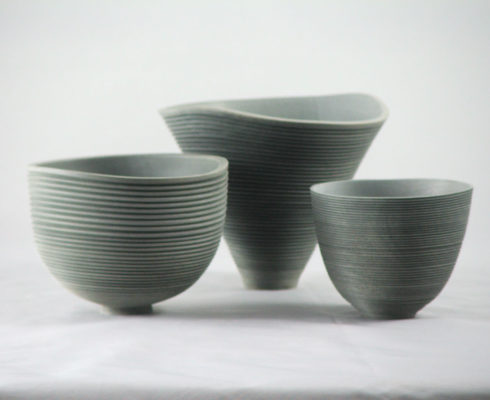 D Three Small Vessels In Holly Ebonised Blue Grey