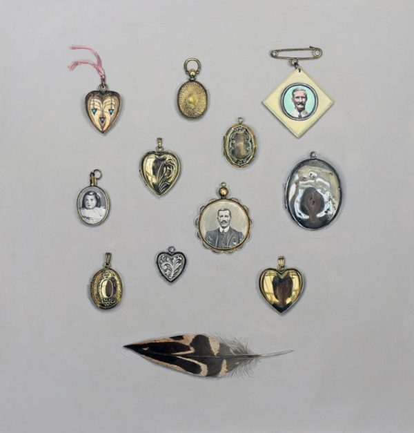 Lockets With Feather 42X40Cm Acrylic On Board