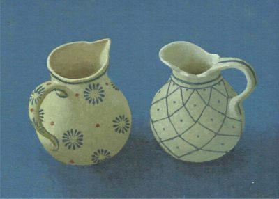 Jugs on a Blue Ground