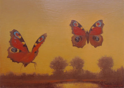 Peacock Butterflies with Landscape