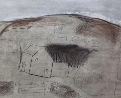 Ian Mckenzie Smith  Farm Gate  Drawing 27 X 32 Cm