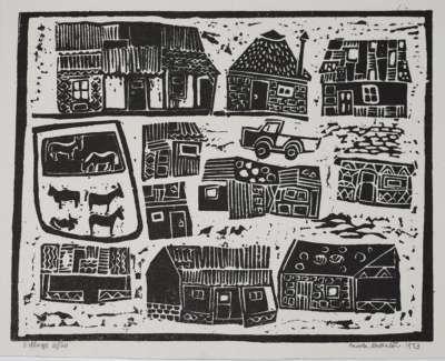 39 Ndebela Village Lino 28X32 1968