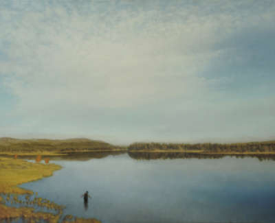 19 Blue Lake Oil On Canvas 46X61Cm