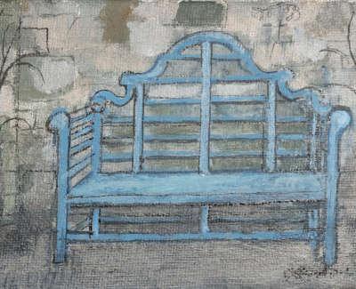 25 Circus Lane Blue Bench 8X12Cmweb