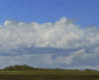 26 Blue Cumulus Oil On Card 18X36Cm