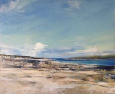 Calm Day Chalbha Iona Triptych Oil And Mixed Media With Gold Lead On Canvas 87 X 166 Cm