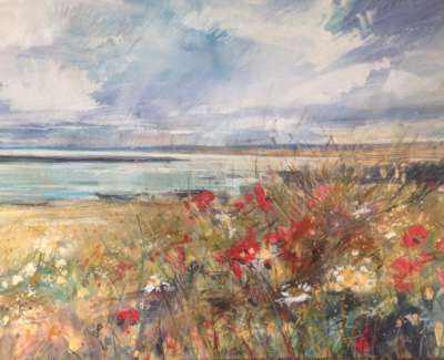 Wild Flowers And Poppies Mixed Media With Gold Leaf 59 X 84 Cm