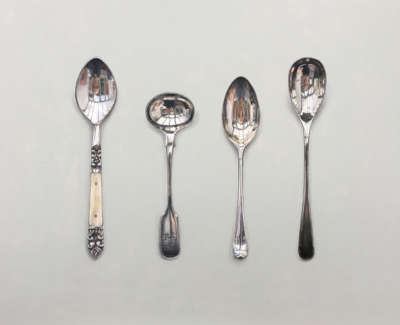 A Line Of Small Spoons Acrylic On Board 47 X 60 Cm £2600 00