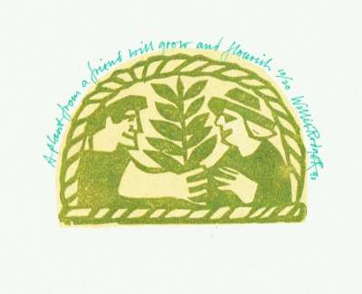 A Plant From A Friend Will Grow And Flourish Linocut 1990 6 X 8 Cm