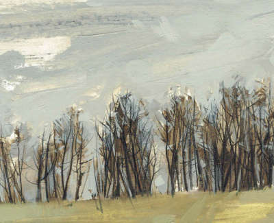 Anna King  Winter Trees The Hanging  Oil And Pencil On Board