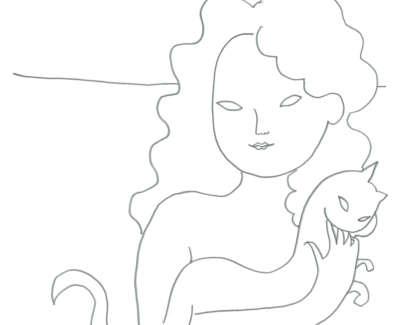 Adrian Wiszniewski Woman And Cat Graphite On Paper 24 X 24 Cm £1500
