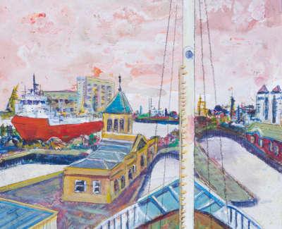 Albert Dock From Mv Fingals Bow Acrylic On Board 30 X 30 Cm £400
