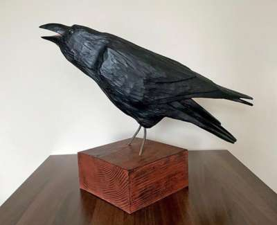 Alex Malcolmson  Raven Carved And Painted Wood  Western Red Cedar 50 X 60 X 25 Approx £895 00