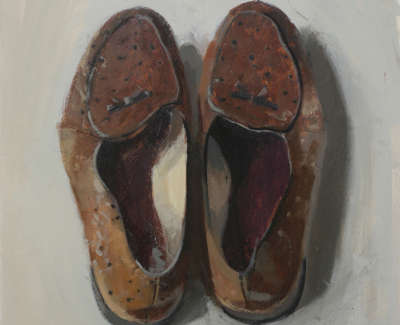 Alexander Mc Call Smiths Shoes  Oil On Board 28 X 28 Cm £1300 00