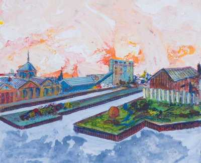 Alexandra Prince Of Wales Dock Leith Acrylic On Board 30 X 30 Cm £400