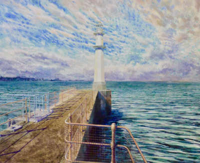 And Looking Into The Clear Water Newhaven  Acrylic On Board 2018 50X35 5Cm £1250