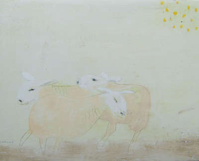 Andrew Squire Three Sheep Mixed Media On Board £250 00Web
