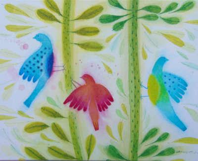 Ann Ross Rsw Toy Birds On Bean Stalks Watercolour On Board £295 00Web