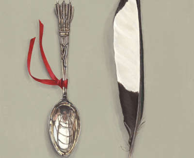 Arrows Spoon With Magpie Feather 20X16Cm Acrylic On Board £600