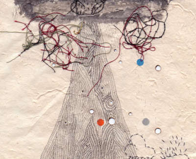 Bad Weather Mountain Burnt Holes Pen And Stitching On Paper 19 X 19 Cm £195