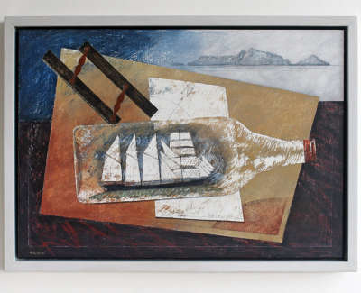 Barquentine Mixed Media On Board Wall Hung 39 X 54 Cm