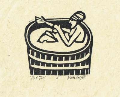 Bath Tub Linocut 1984 7 X 7 Cm