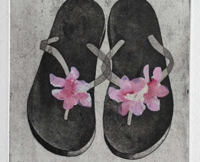 Bella Bathursts Flip Flops Etching With Watercolour And Body Colour 21 X 18 Cm £375 00