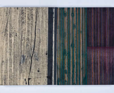 Between Moments Diptych Mokuhanga On Two Wooden Gesso Panels 40 X 60 Cm