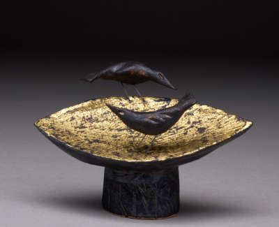 Bird Table Stoneware And Gold Leaf Maquette 10 Cm L