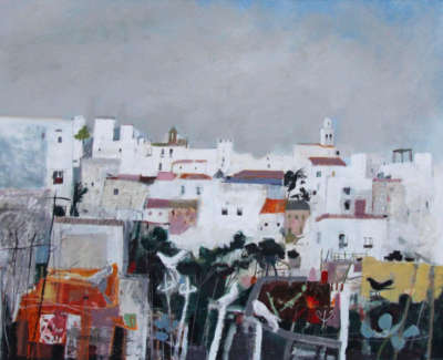 C Woodside Doves Vejer De La Frontera Mixed Media 56X71Cm