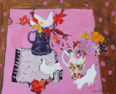 C Woodside Pink Table And Doves Mixed Media 35 5X38Cm