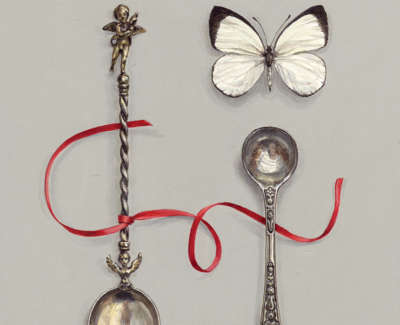 Cherub Spoon With Red Ribbon And Butterfly Acrylic On Board 20 X 16 Cm £600 00