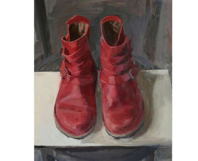 Denise Minas Boots  Oil On Board 30 5 X 25 5 Cm £1300 00