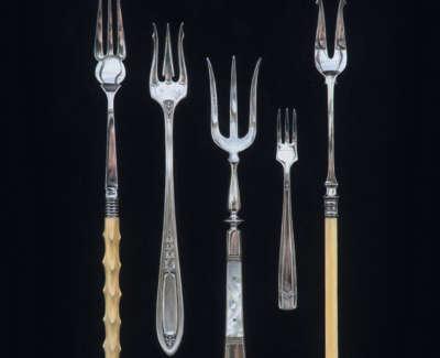 Five Forks On Black Acrylic On Panel 60 X 47 Cm £2600 00