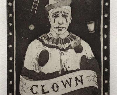Proper Clown  Etching 15 X 10 Cm £150 00