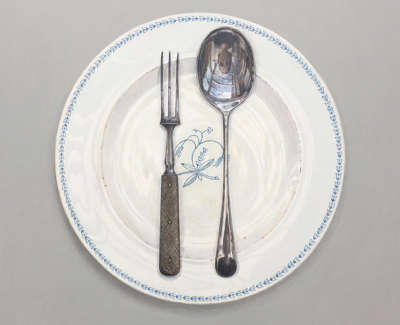 Swedish Plate With Fork And Spoon Acrylic On Board £2300 00