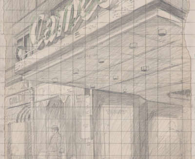 Cameo Cinema Pencil On Card C 1970 64 X 41 Cm