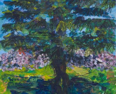 Cherry Blossom Lauriston Castle Acrylic On Board 15 X 15 Cm £275