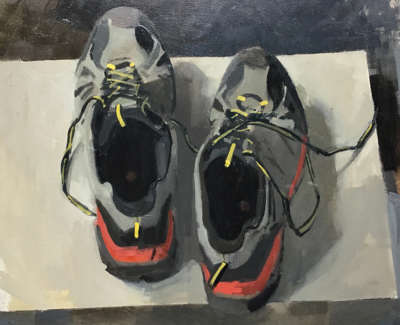Christopher Brookmyres Writing Shoes  Oil On Board 38 X 40 5 Cm £1600 00