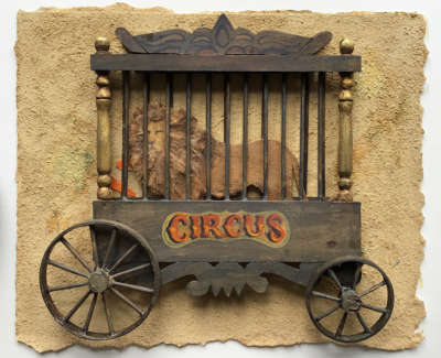 Circus Trailer With Lion 23 X 28 Cm £900 00