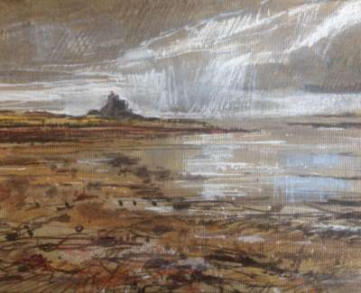 Clouds Lindisfarne Pencil Chalk And Pen On Linen Board 18 X 24 Cm