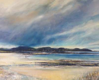 Clouds Sanna Ardnamurchan Triptych Oil And Mixed Media With Gold Leaf On Canvas 92 X 184 Cm