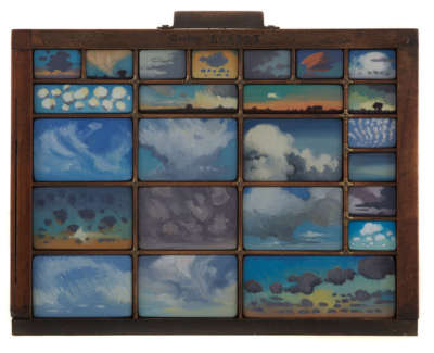 Clouds  Oil On Panel In Vintage Type Case 36 X 28 X 2 5 Cm