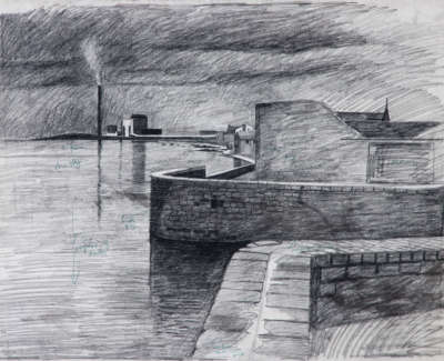 Cockenzie From Port Seaton Charcoal On Paper C 1970 49 X 66 Cm
